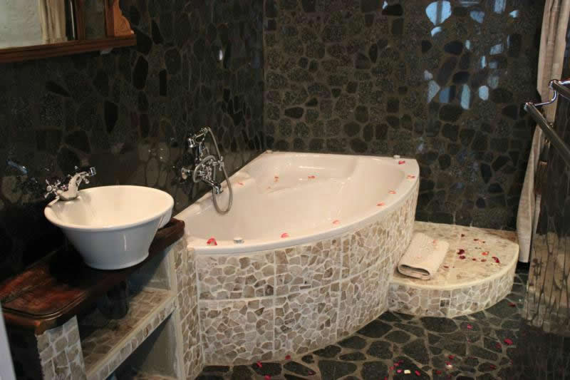 bathroom with flower petals