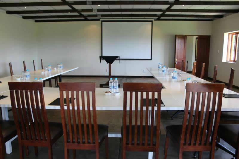 conference tables and setup with projector